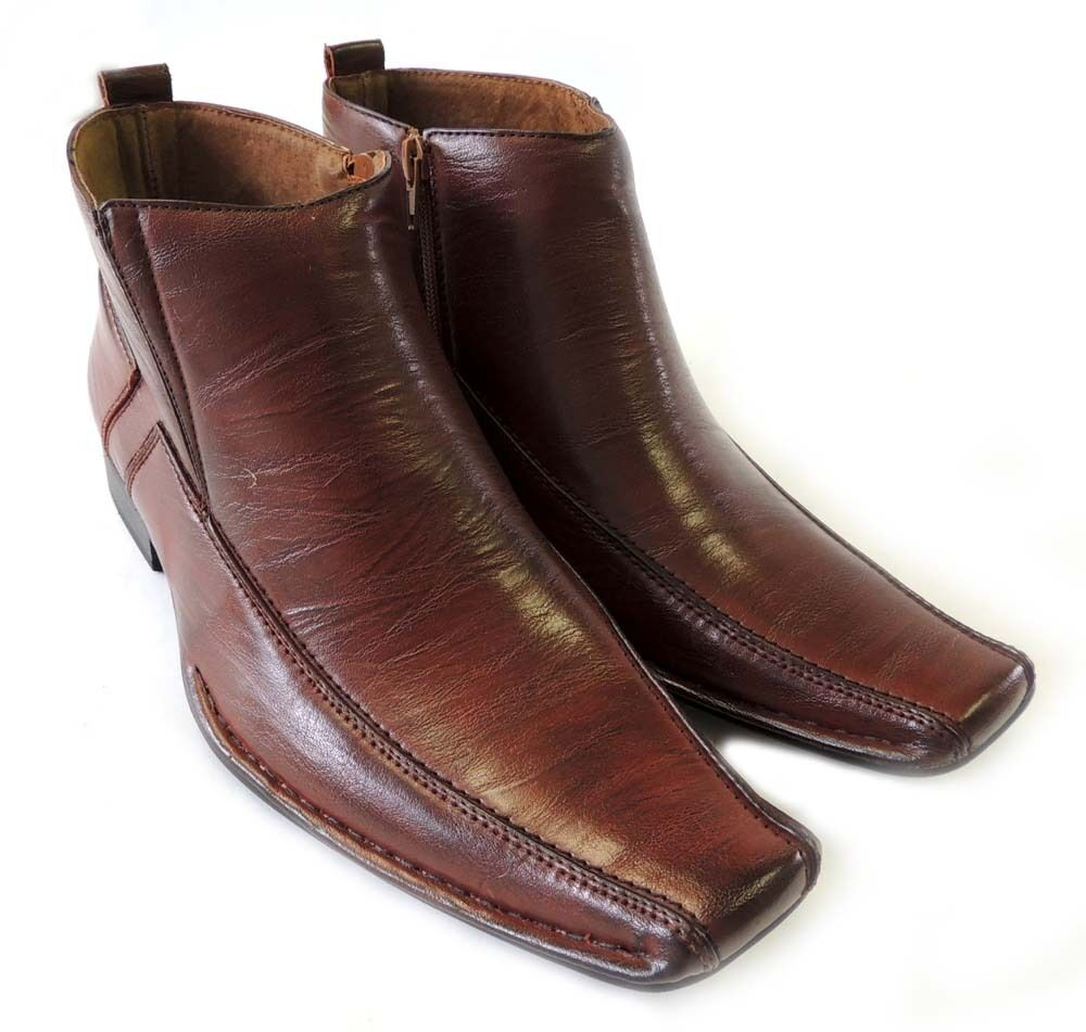 new mens ankle boots zippered comfort leather lined