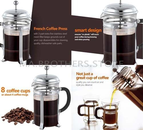 French Press Coffee Cup Maker 8 Tea Stainless Steel 34 Ounce Mug 3 Bodum Bonjour Ebay