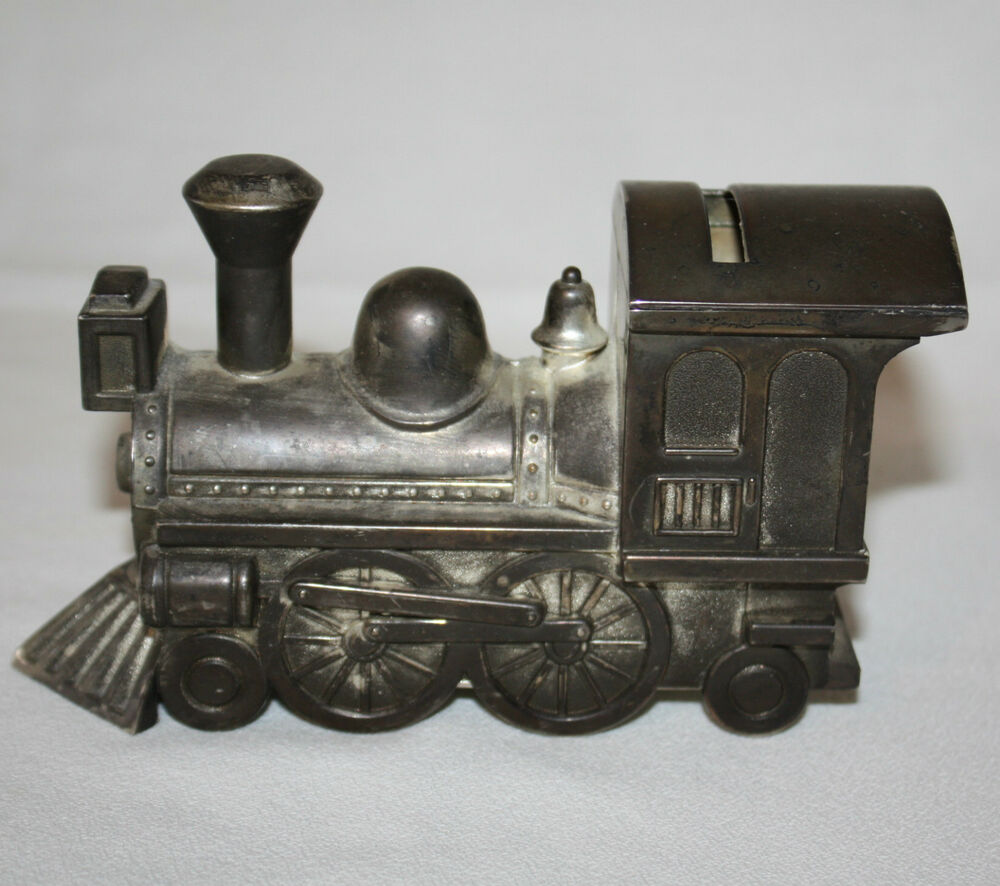 vintage 1960s metal train piggy bank locomotive large coin. Black Bedroom Furniture Sets. Home Design Ideas