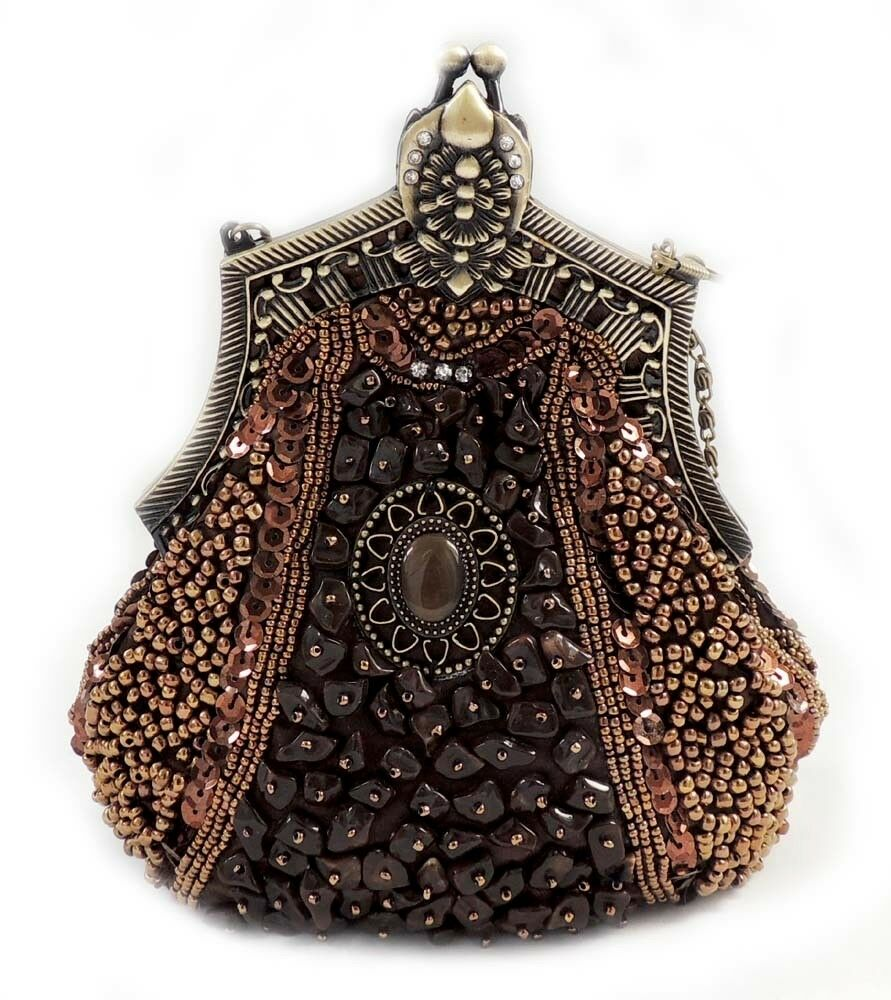 69b0568e29  New  Vintage Pewter Beaded Victorian Style Evening Handbag Purse  Clutch Brown