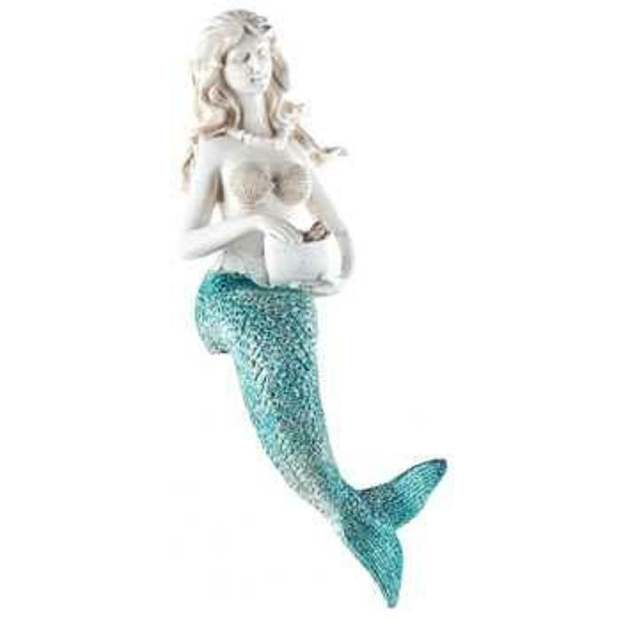 10 white resin sitting mermaid with turquoise tail home for Mermaid decorations for home