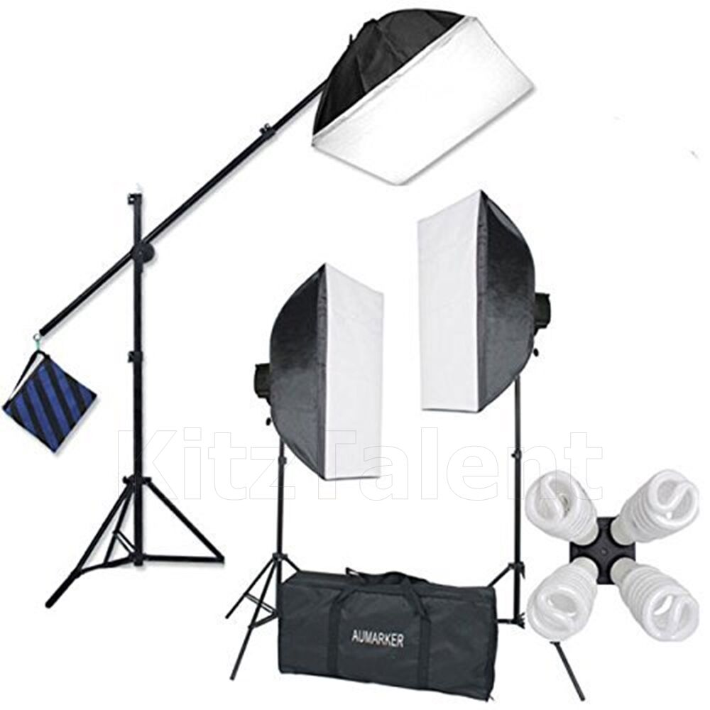 Deluxe Photo Studio Photography Lighting Kit Stand White