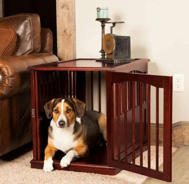 cool end table dog crate furniture | Large Dog Kennel Table Wooden Pet Cage Solid Pine Wood ...