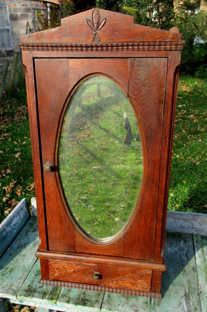 Antique carved wood medicine bathroom wall cabinet oval beveled mirror apothecar ebay Oval bathroom mirror cabinet
