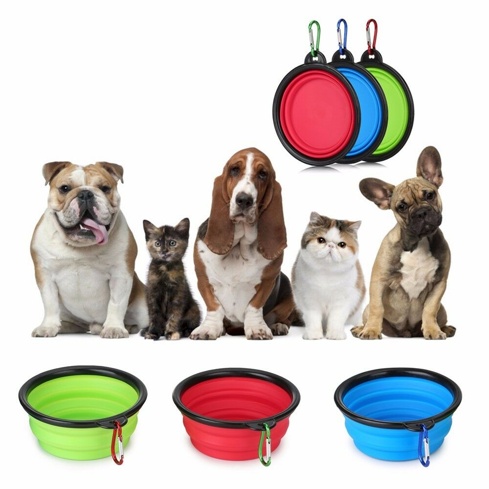 The Portable Pet Water: 3 Portable Travel Collapsible Foldable Pet Dog Bowl For