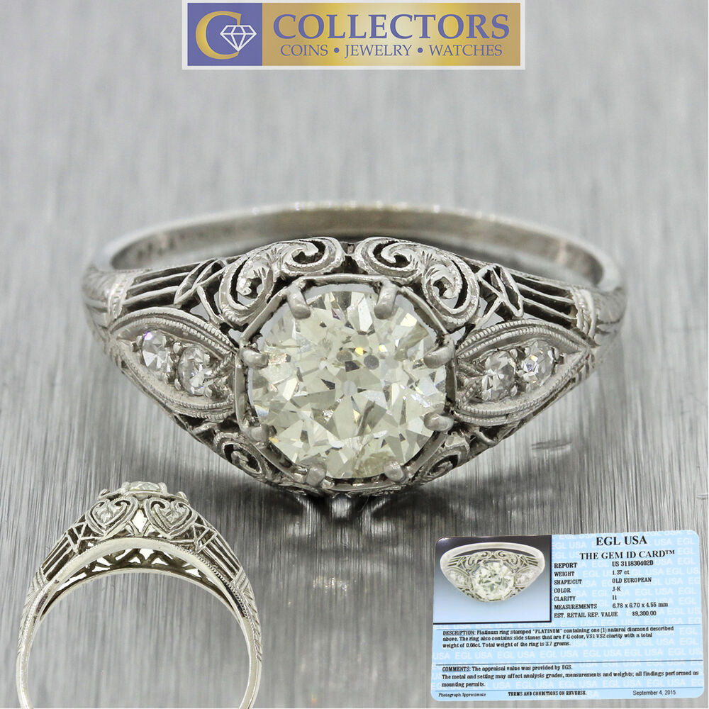 Antique Art Deco Filigree 1920s Platinum 1 37ct Diamond