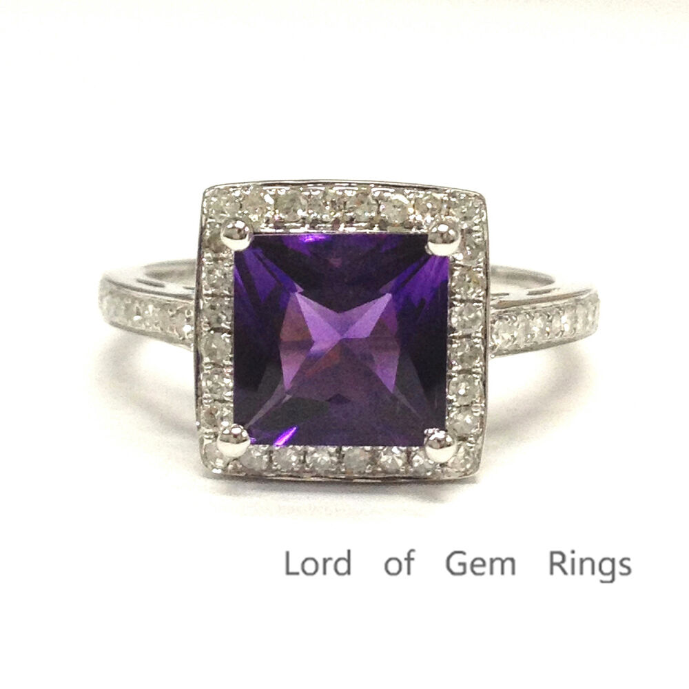 amethyst wedding ring 7mm princess cut amethyst engagement wedding diamonds ring 1294