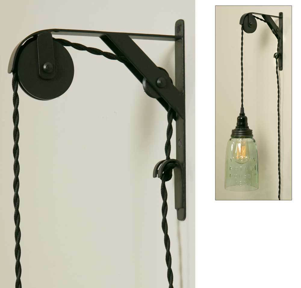 Wall Pendant Light: Primitive Wall Mount Pendant Light Pulley DOUBLE SHEAVE