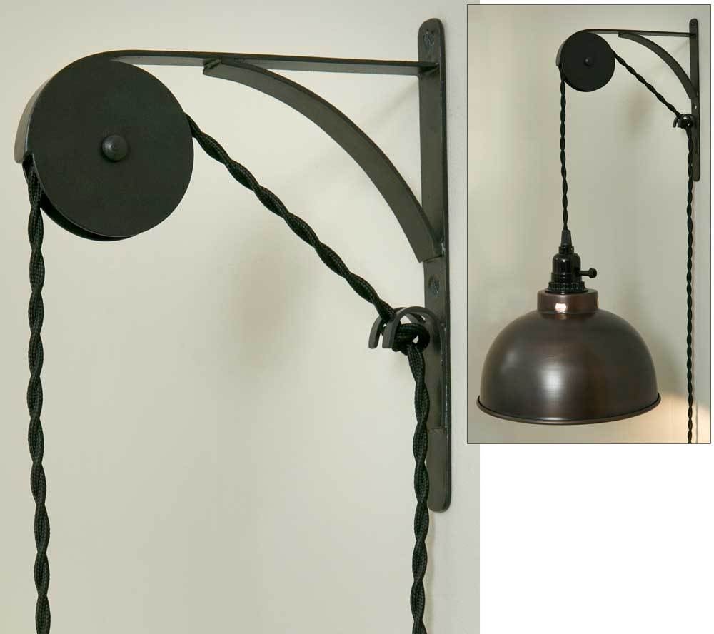 Wall Pendant Light: Primitive Wall Mount Pendant Light Pulley SINGLE SHEAVE