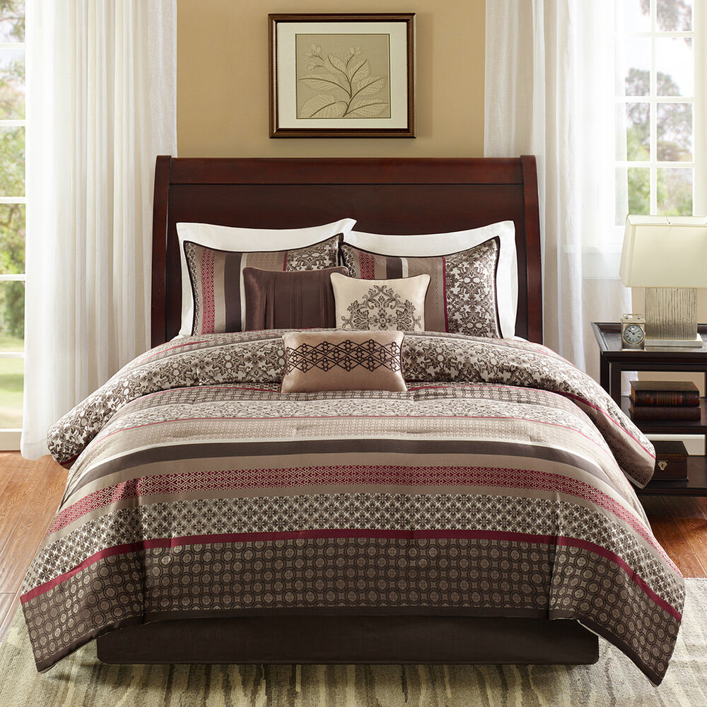 Beautiful 7pc Modern Red Taupe Beige Brown Plaid Cozy
