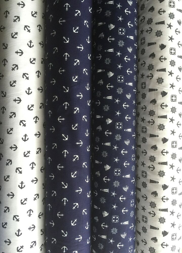 Polycotton Fabric Anchor White Blue Nautical Ocean Light