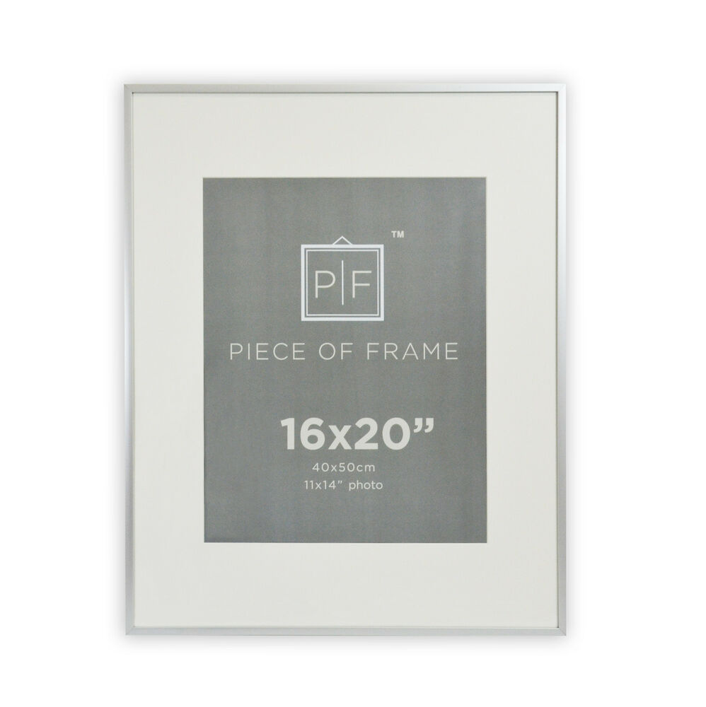16x20 Aluminum Silver Photo Frame With Ivory Mat For