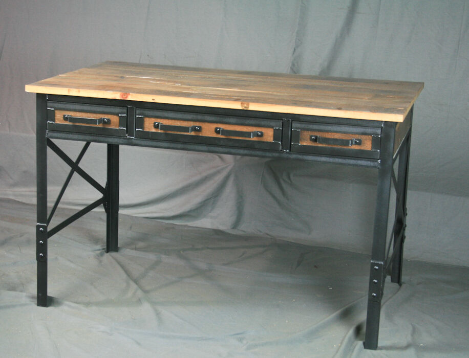 Vintage Industrial Desk With Drawers Reclaimed Barn Wood