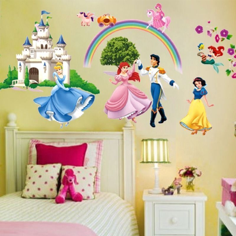 Removable princess castle rainbow wall decal girls room for Rainbow bedroom decor