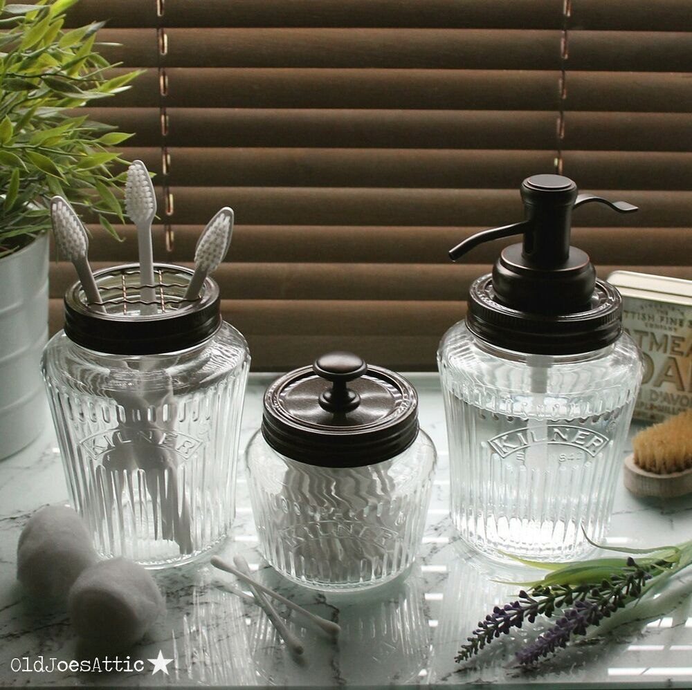kilner vintage glass preserve jar bath accessory set with