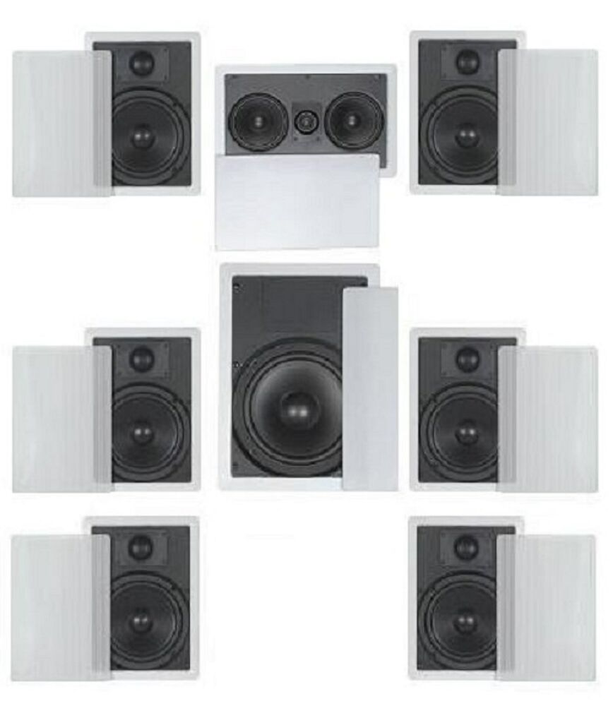 FLUSH MOUNT IN WALL SPEAKERS 7.1 HOME THEATER SURROUND- 6
