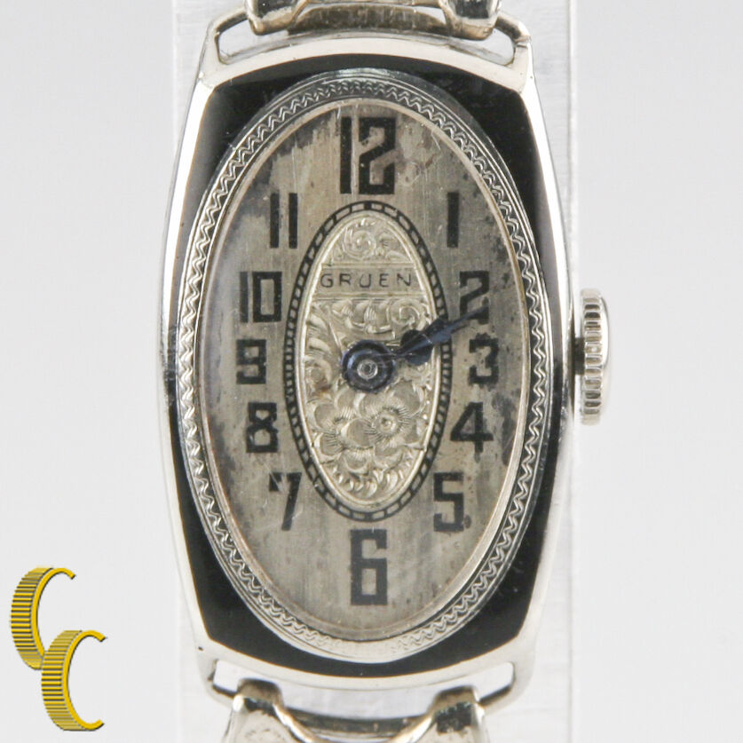 vintage gruen 14k white gold women 39 s art deco hand winding watch w stretch band ebay. Black Bedroom Furniture Sets. Home Design Ideas