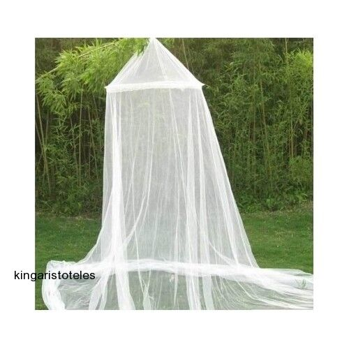 Canopy Mosquito Net Round Bed White Curtain Dome Insect Mesh Princess Shield Ebay