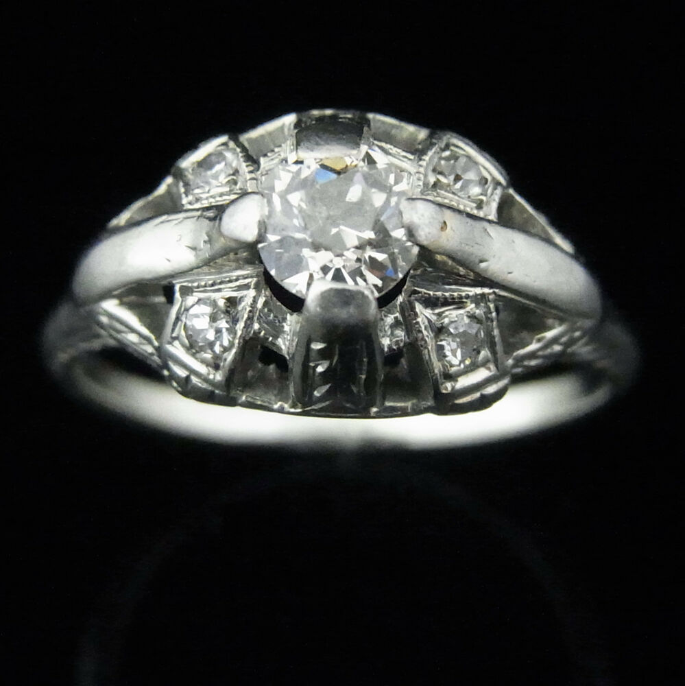 Art deco old european cut diamond 14k white gold for Where can i sell my old wedding ring