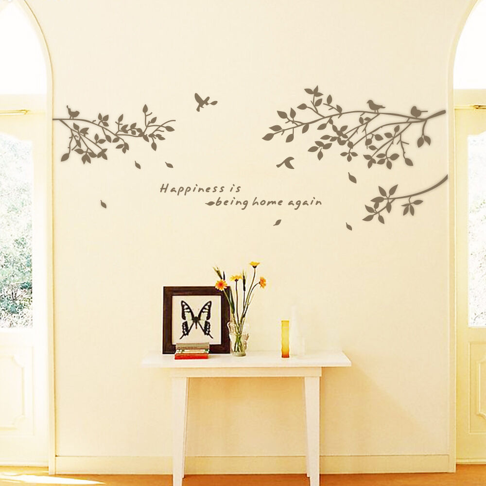 Black tree branches birds leaves fashion home wall for Black tree wall mural