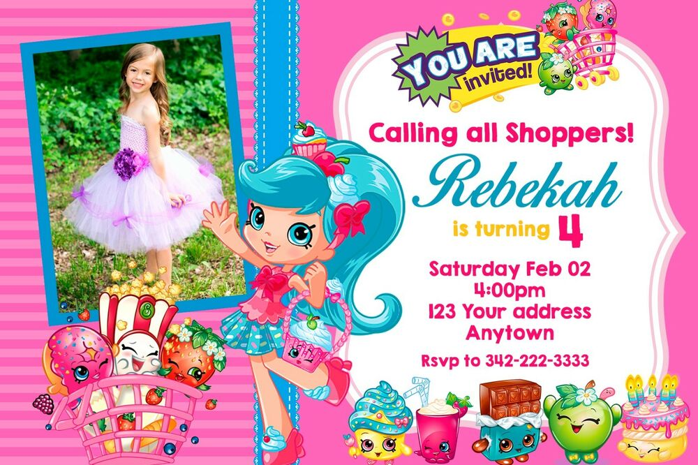 Details About SHOPKINS Birthday Party Invitations Personalized Custom
