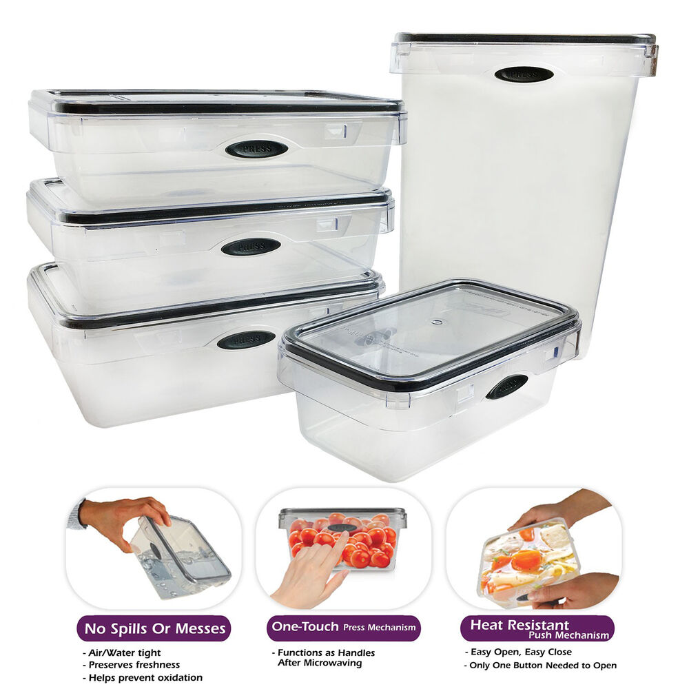 Pantry Food Storage Containers: 10 Piece Food Storage Set Rectangular Plastic Container