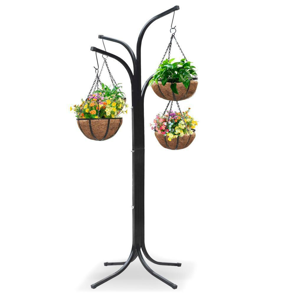 New 4 basket arm tree hanging garden flower pot stand planters deck patio yard ebay - Steel pot plant stands ...