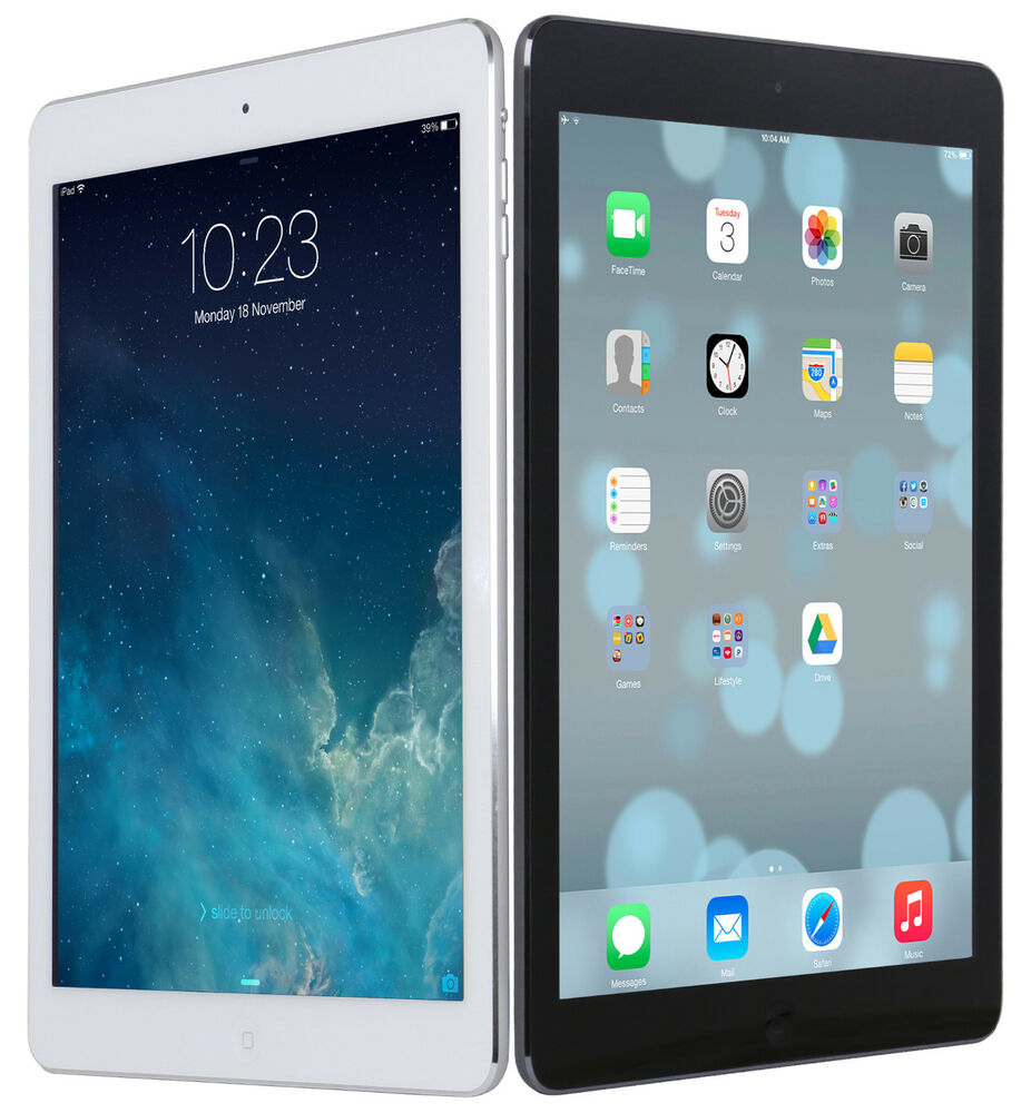 new apple ipad air 9 7 retina display a7 16gb ios wi fi white black ebay. Black Bedroom Furniture Sets. Home Design Ideas