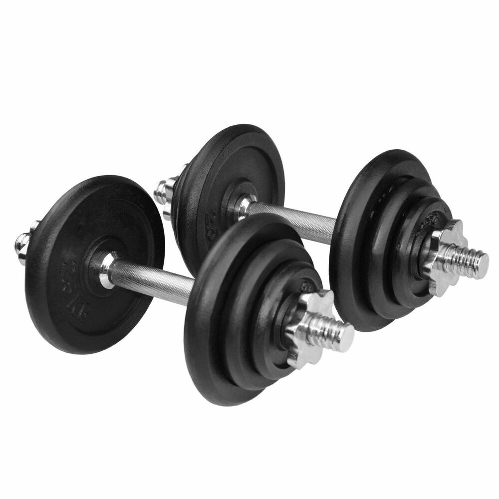 York 30kg Dumbbell Set: Dumbbells Cast Iron Adjustable Dumbbell Set Weights