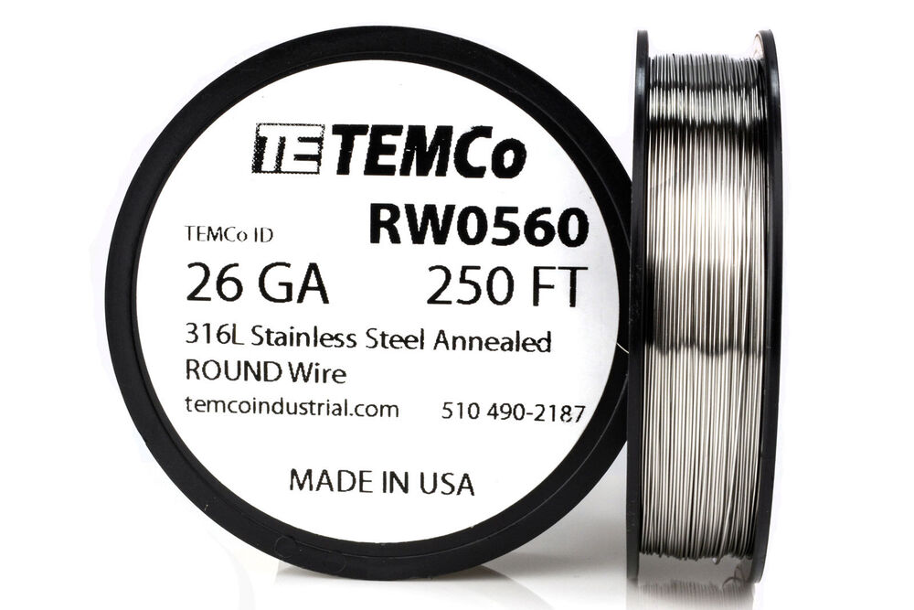 TEMCo Stainless Steel Wire SS 316L - 26 Gauge 250 FT Non-Resistance ...