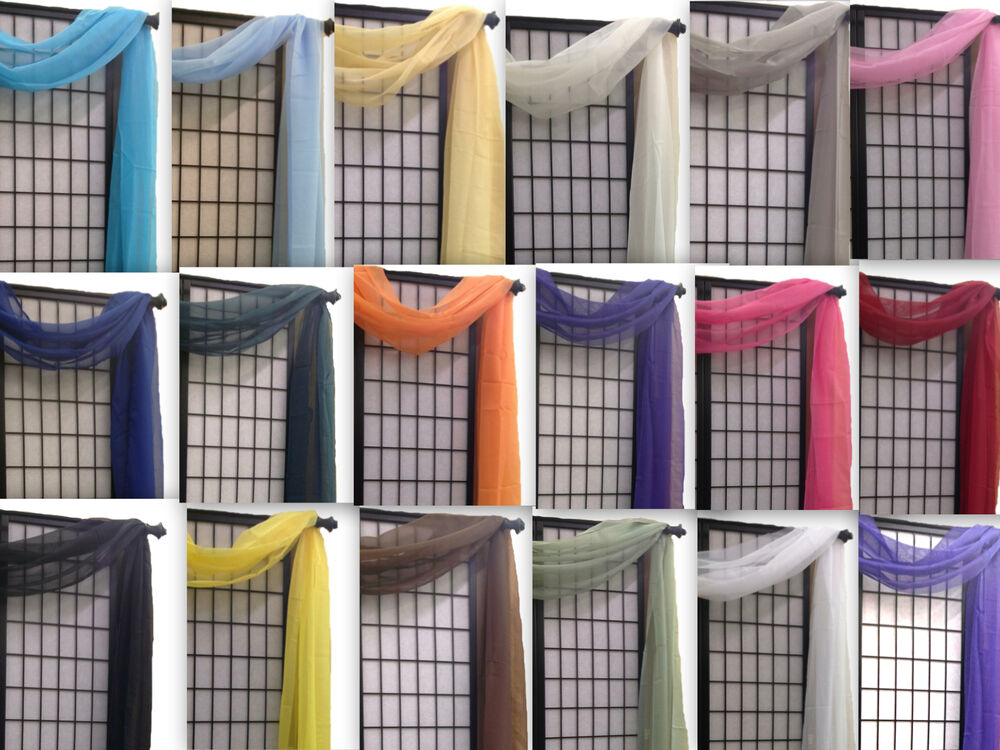 Window Scarf Valance: Simple Sheer Valance Scarf Voile Window Treatment 216