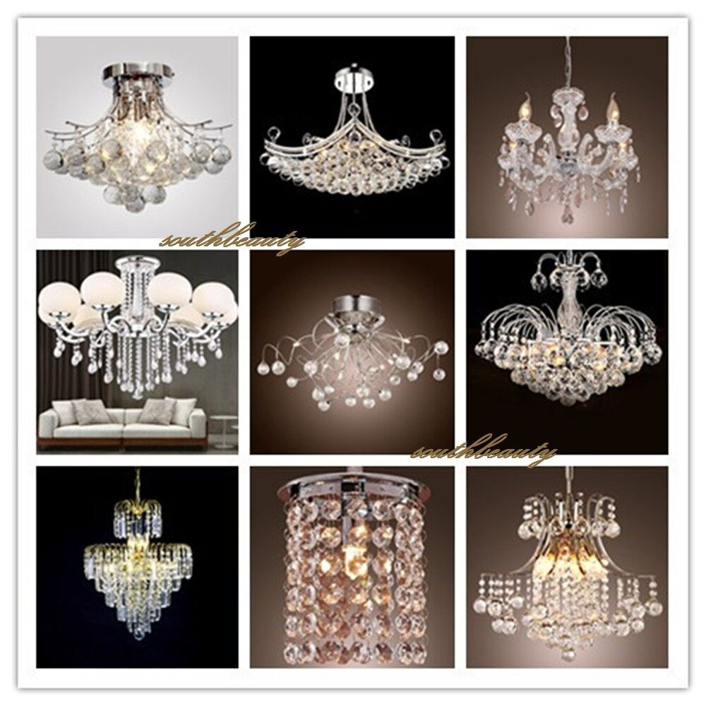 Modern crystal pendant light ceiling lamp chandelier living dining room lighting ebay - Dining room crystal chandelier lighting ...