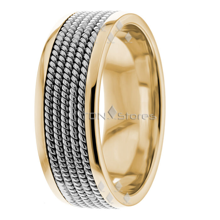 twisted rope braided two tone wedding band mens
