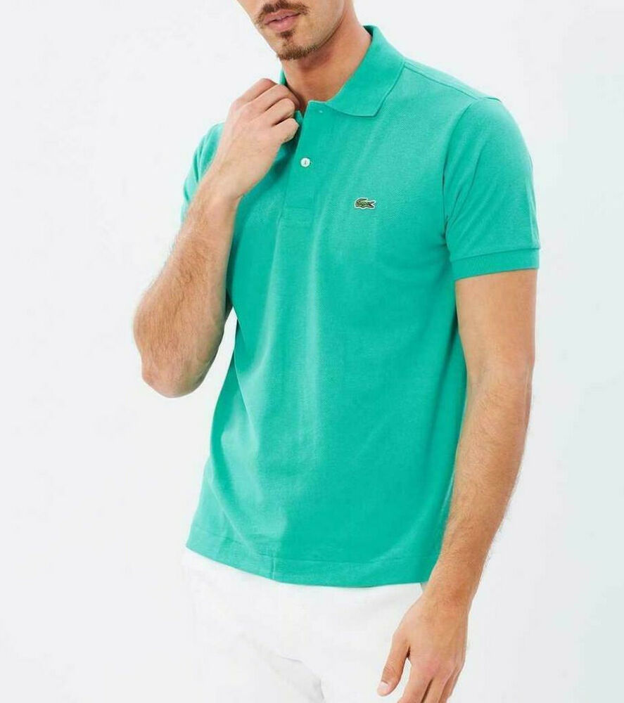 Lacoste polo shirt green l1212 pique cotton t shirt new for Lacoste polo shirts ebay