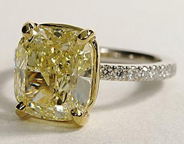 huge ct cushion cut canary diamond engagement ring. Black Bedroom Furniture Sets. Home Design Ideas
