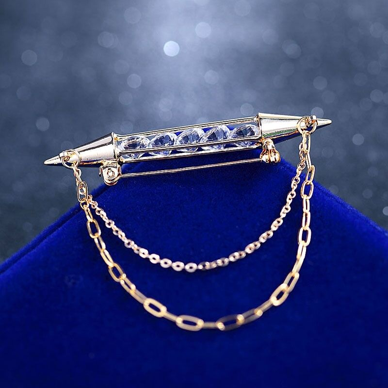 gold shirt collar pin brooch crystal mens tie bar clip