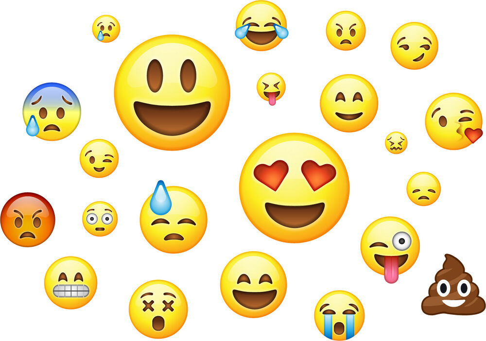 Emoji Pack of 22 - Wall Art Stickers Emoticon Emojis Faces Bedroom ...