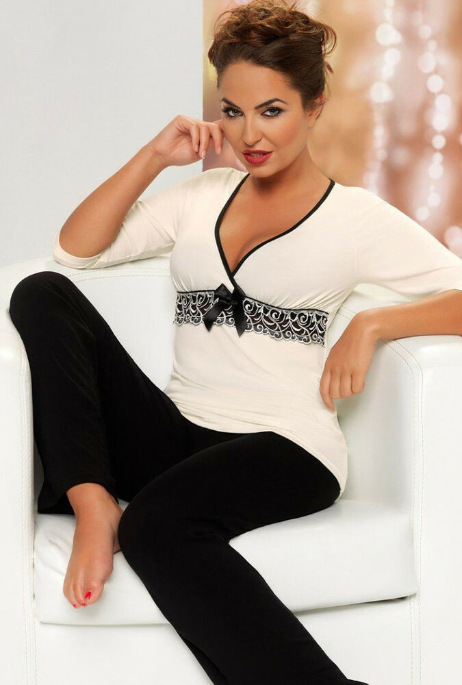 pyjama pantalon femme noir creme chic sexy d collet lingerie donna s 36 ebay. Black Bedroom Furniture Sets. Home Design Ideas