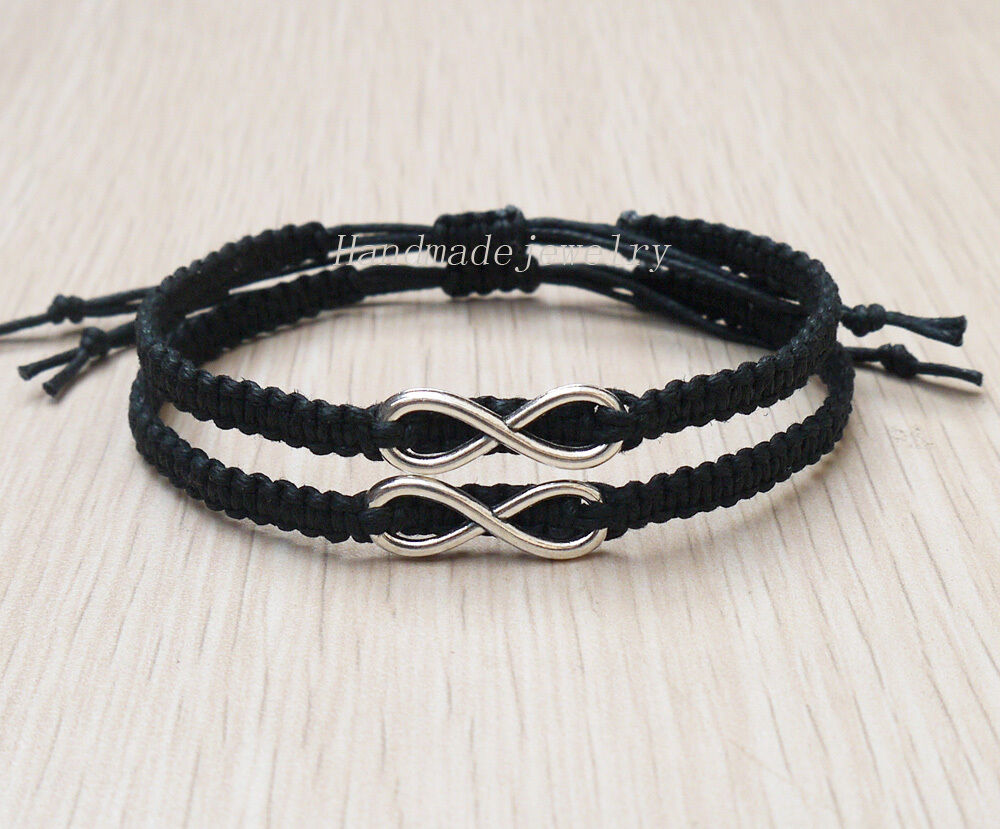 Infinity Couples Bracelets His Hers Personalized Charm