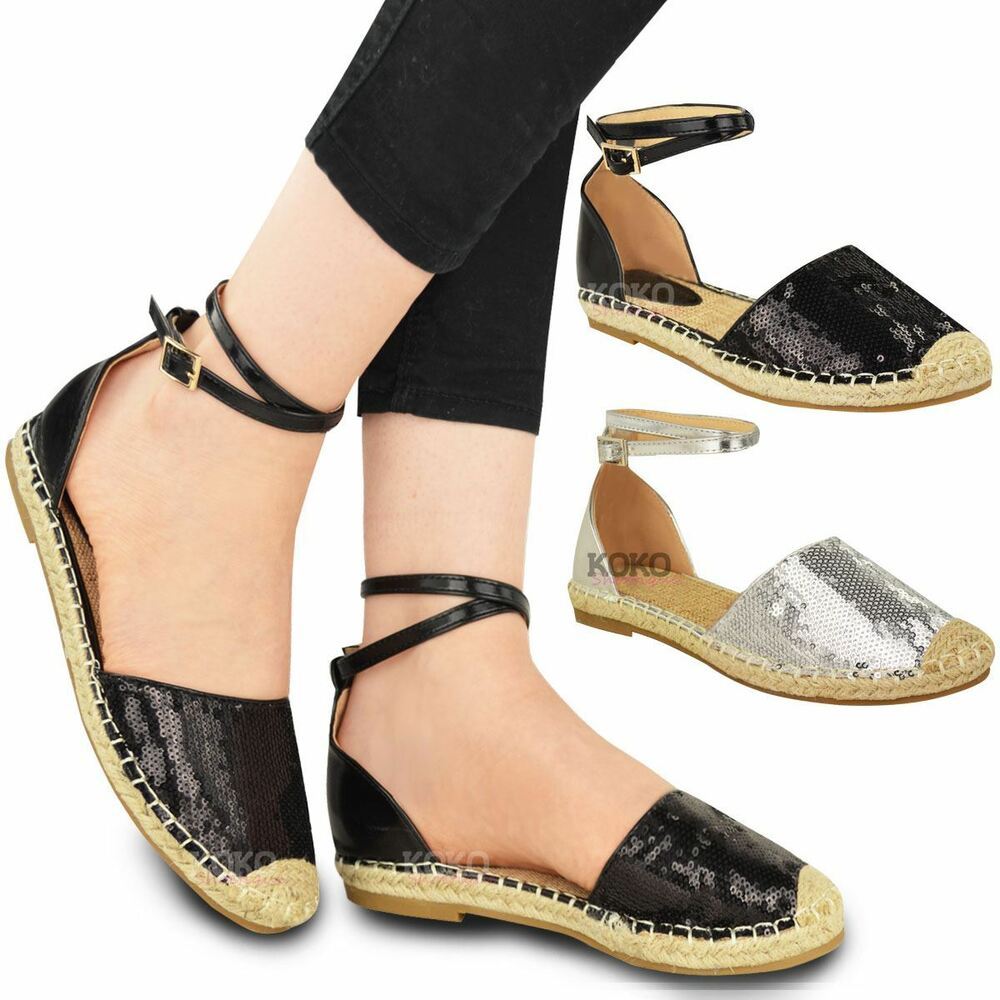 New Womens Ladies Summer Espadrilles Sandals Flat Ankle