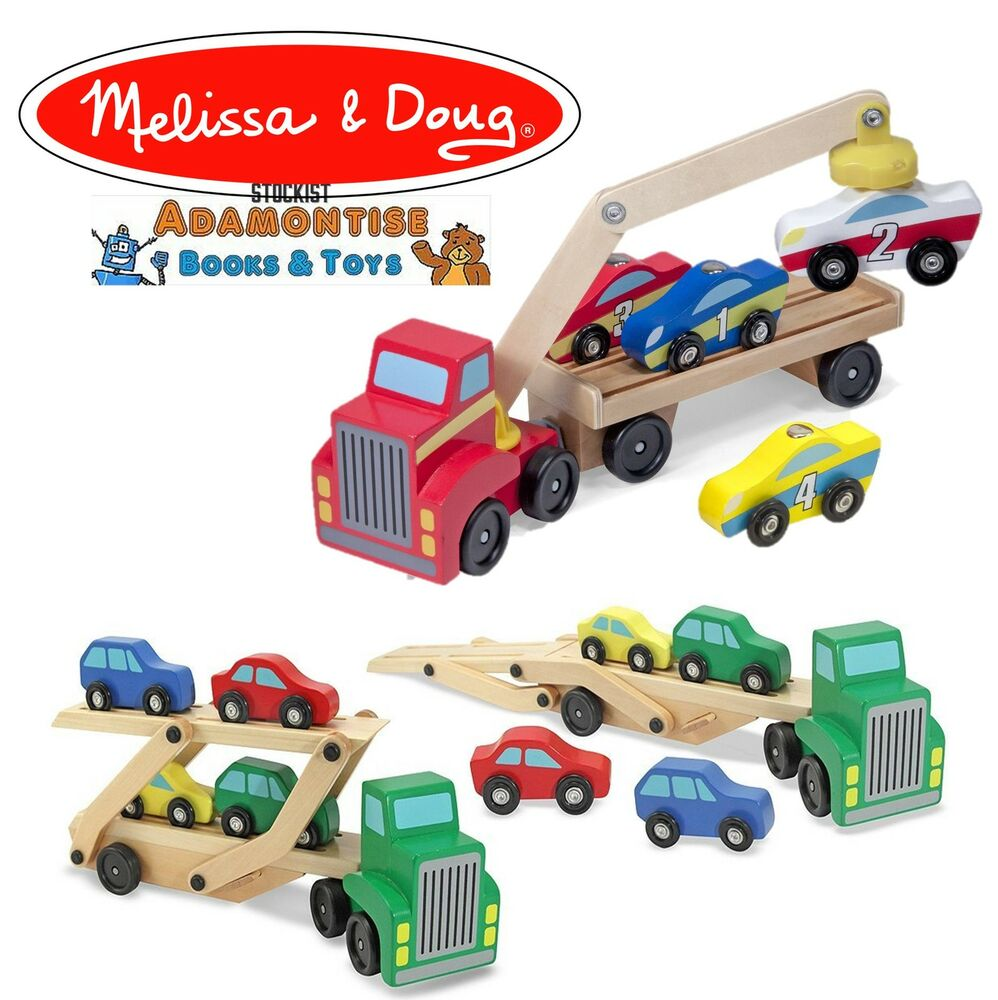 Melissa Doug Toys : Melissa doug wooden car transporter magnetic loader toy