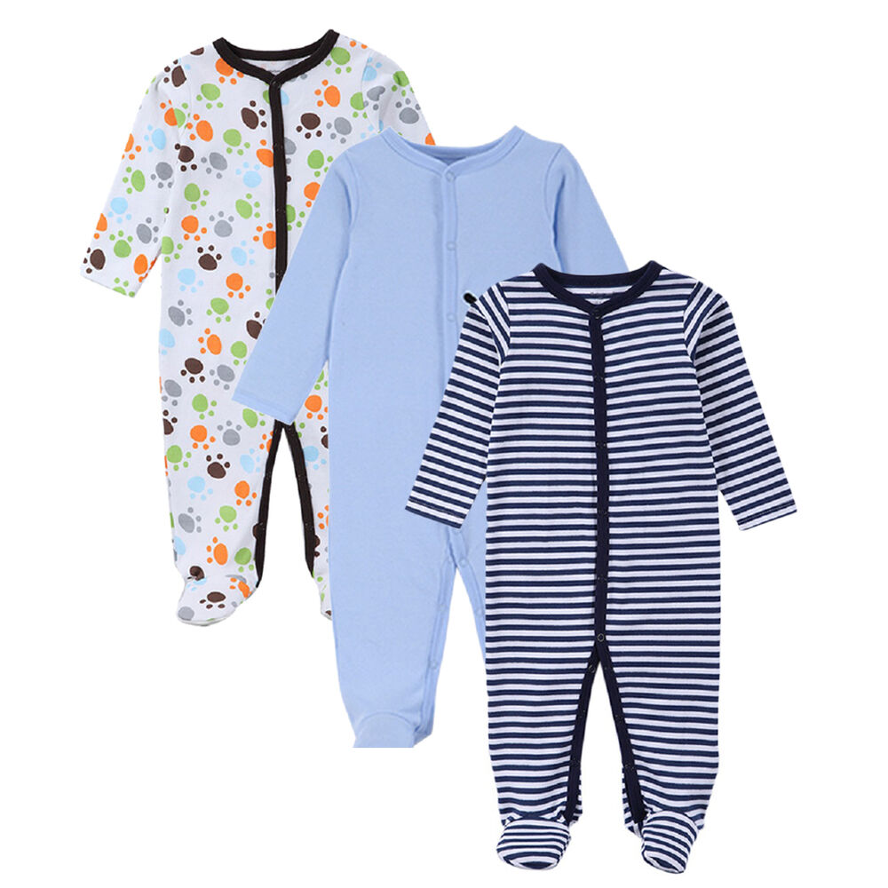Newborn Baby Boys Cotton Footed Sleeper Pajama Onesies ...