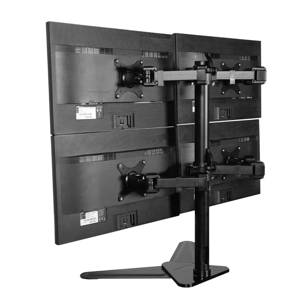 Quad Monitor Free Standing Desk Mount Four Arm Lcd Stand