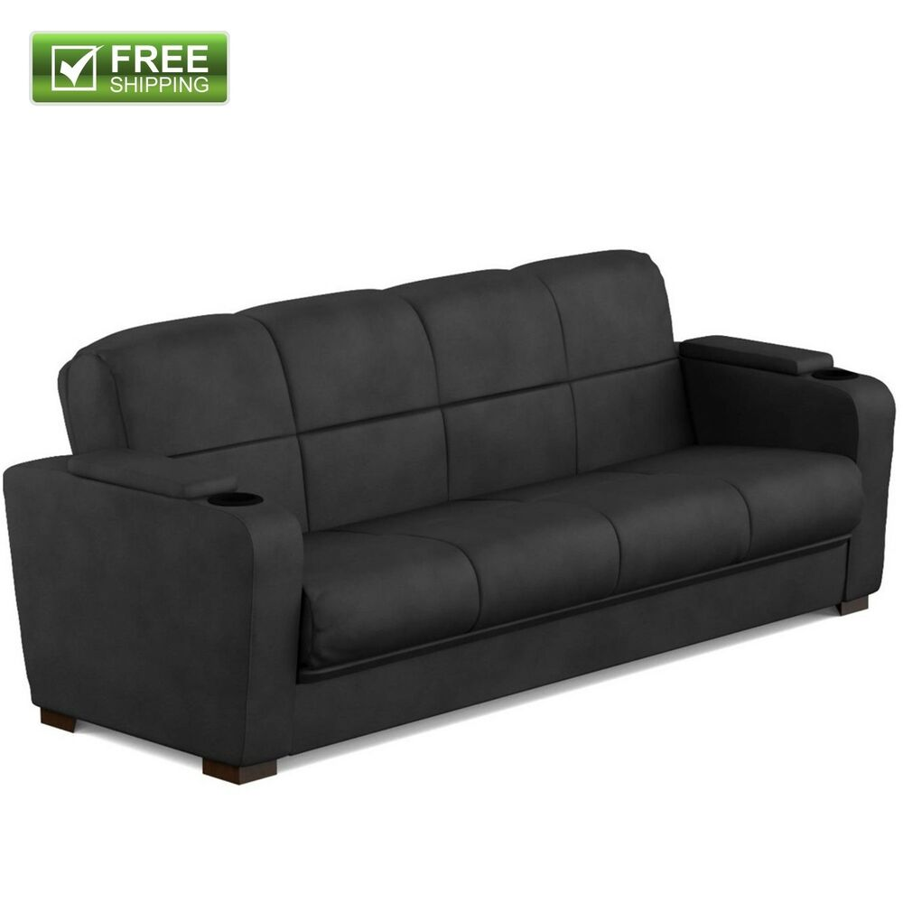 CONVERTIBLE SOFA BED COUCH BLACK MICROFIBER STORAGE ARM FULL SIZE ...