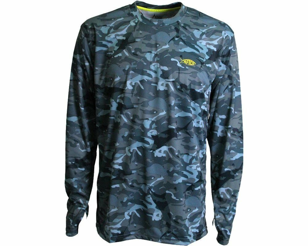 Aftco caster performance fishing sun shirt blue camo for Camo fishing shirt