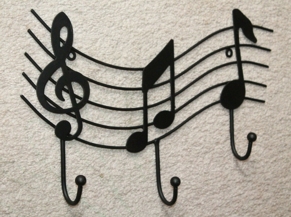 Black wrought iron music staff wall hook hanger notes for Artistic coat hooks