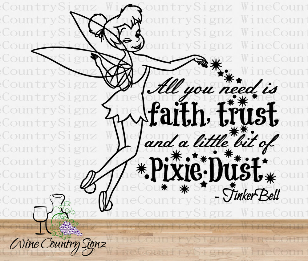 Tinkerbell tink faith trust and pixie dust hibiscus vinyl for Good look faith trust and pixie dust wall decal