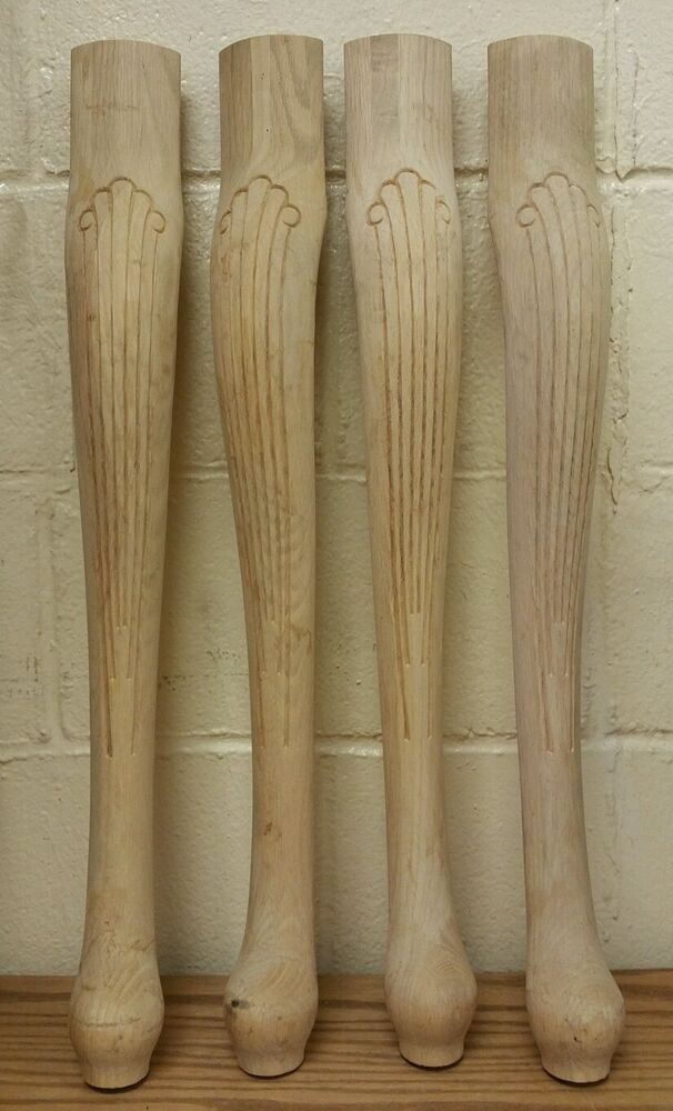Set Of 4 Unfinished Oak Table Legs Queen Anne Style 21 1 4