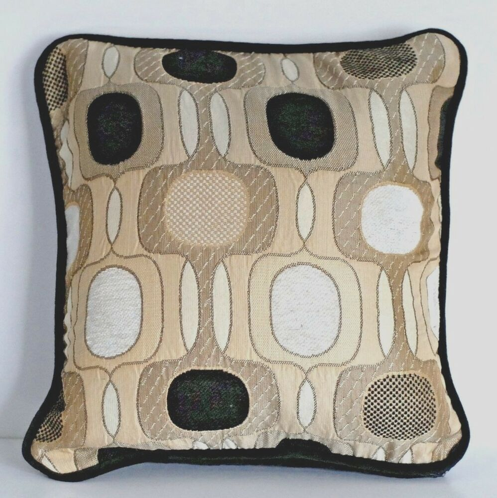 Sofa Pillows Contemporary: Modern Contemporary Black Tan Decorative Embroidered