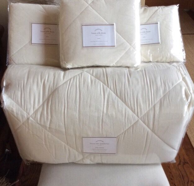 Pottery Barn Linen Silk Comforter Ivory King With 3 Euro